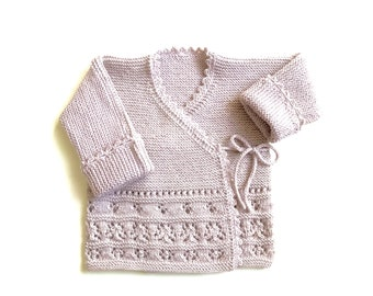 ready to ship: wrapping jacket (size 68/74) light beige, jacket, baby jacket, knitted, drops design
