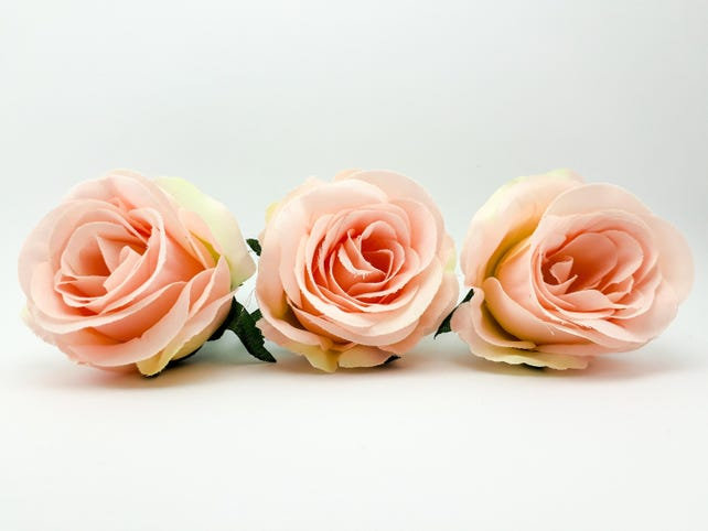 Artificial roses set 3 pieces silk rose head in light pink etsy image 0 mightylinksfo