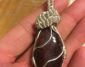Wire wrapped red tigers eye pendant
