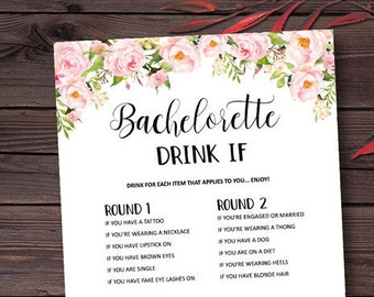bachelorette party games drink if game printable bachelorette games hens night hen party peony bridal shower game instant download
