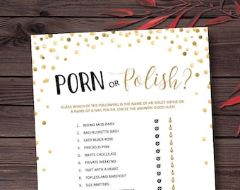 Porn or Polish Game, Bachelorette Games Printable, Bridal Shower, Hen Party, Hen's Night, Bachelorette Party Game Ideas, Instant Download