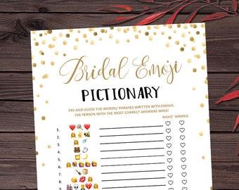 Bridal Shower Game Pictionary, Emoji Pictionary, Instant Printable Digital Download, diy Bridal Shower Printables, Wedding Emoji Pictionary