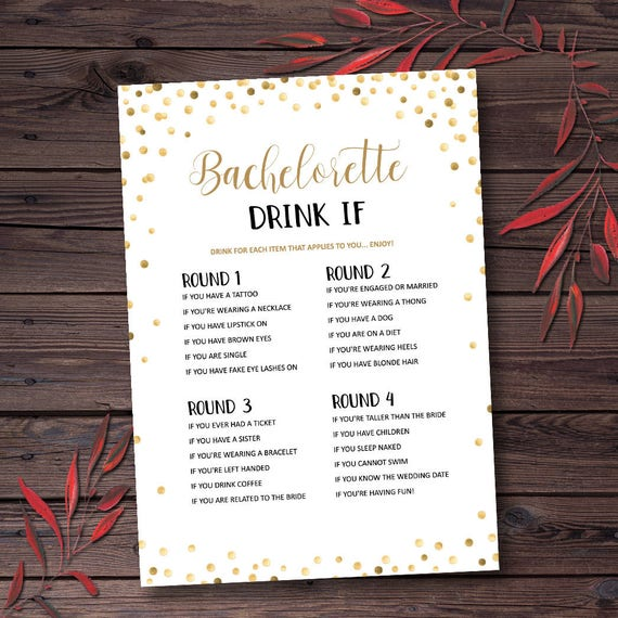 Bachelorette Drink If Game Printable Instant Digital Download mxv581 Rose Gold Bachelorette Party Game Fun Bachelorette Party Game