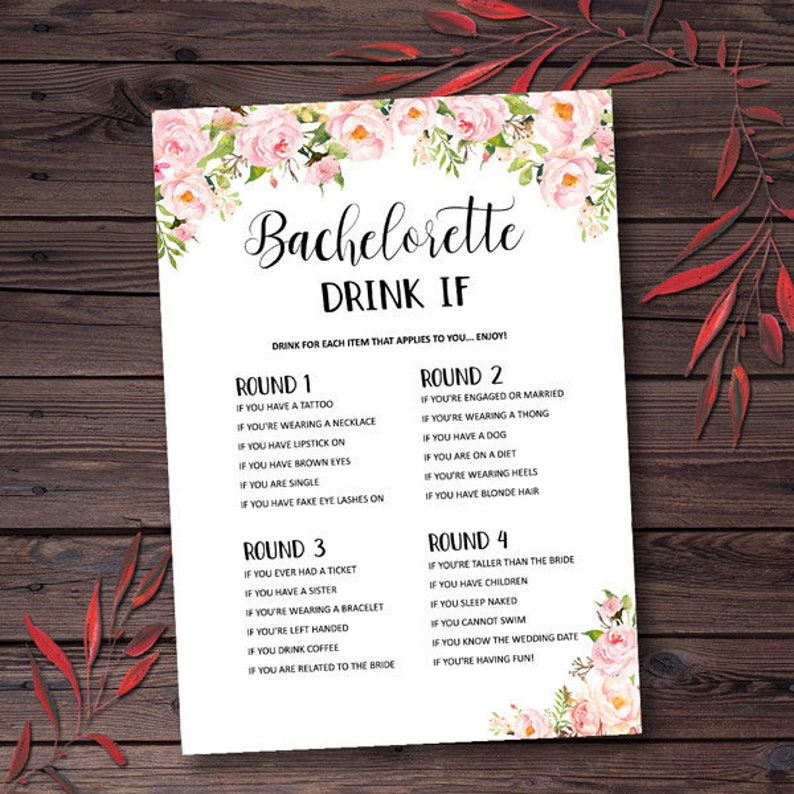 photograph relating to Printable Bachelorette Party Games identified as Bachelorette Bash Game titles Consume If Video game Printable Bachelorette Game titles Hens Night time Hens Bash Peony Bridal Shower Video games Printable mxv81