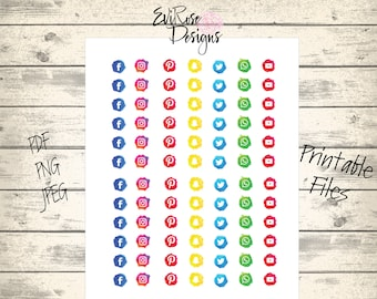 Social Media Stickers - Planner Stickers - Business Marketing Stickers - Social Icon Stickers - Networking Sticker Sheets