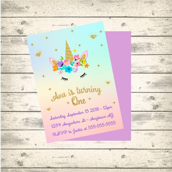 Unicorn Birthday Invitations Printable Custom