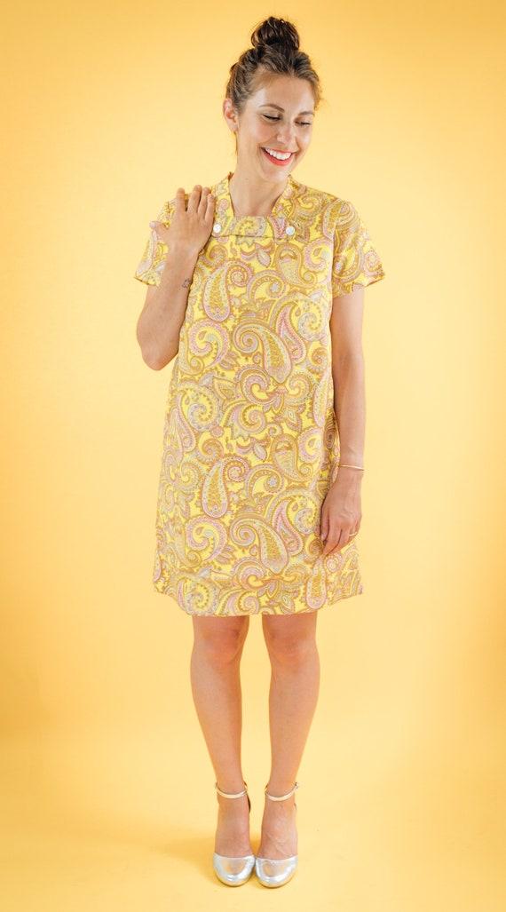 Yellow Paisley Print 60s Shift Dress