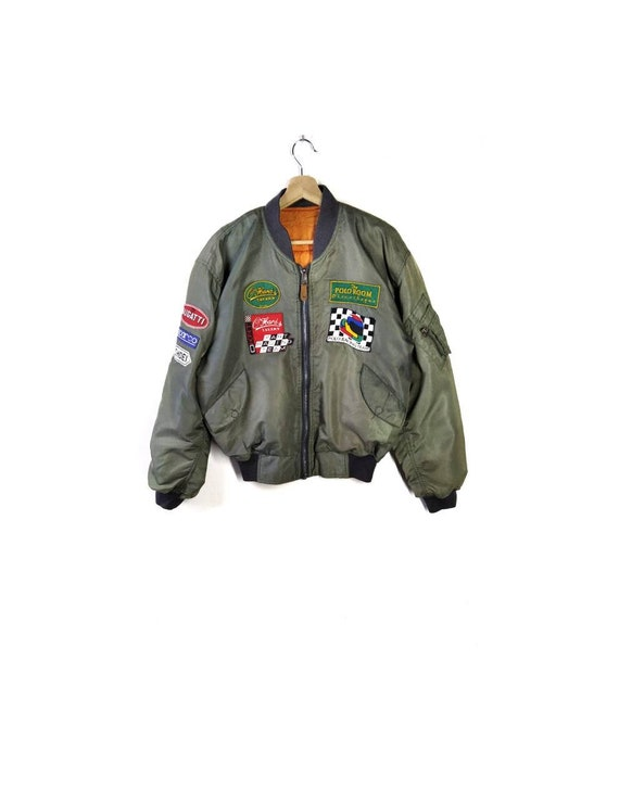 Vintage Polo Team Racing Full Patches Bomber Jacke