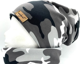 CAMOUFLAGE Black, Beanie with Matching Loop or Single, Winter Set, Transition Set, Hats Set