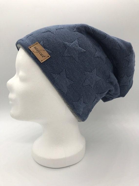 Beanie Jerseymütze  Sterne Dunkelblau    Handmade