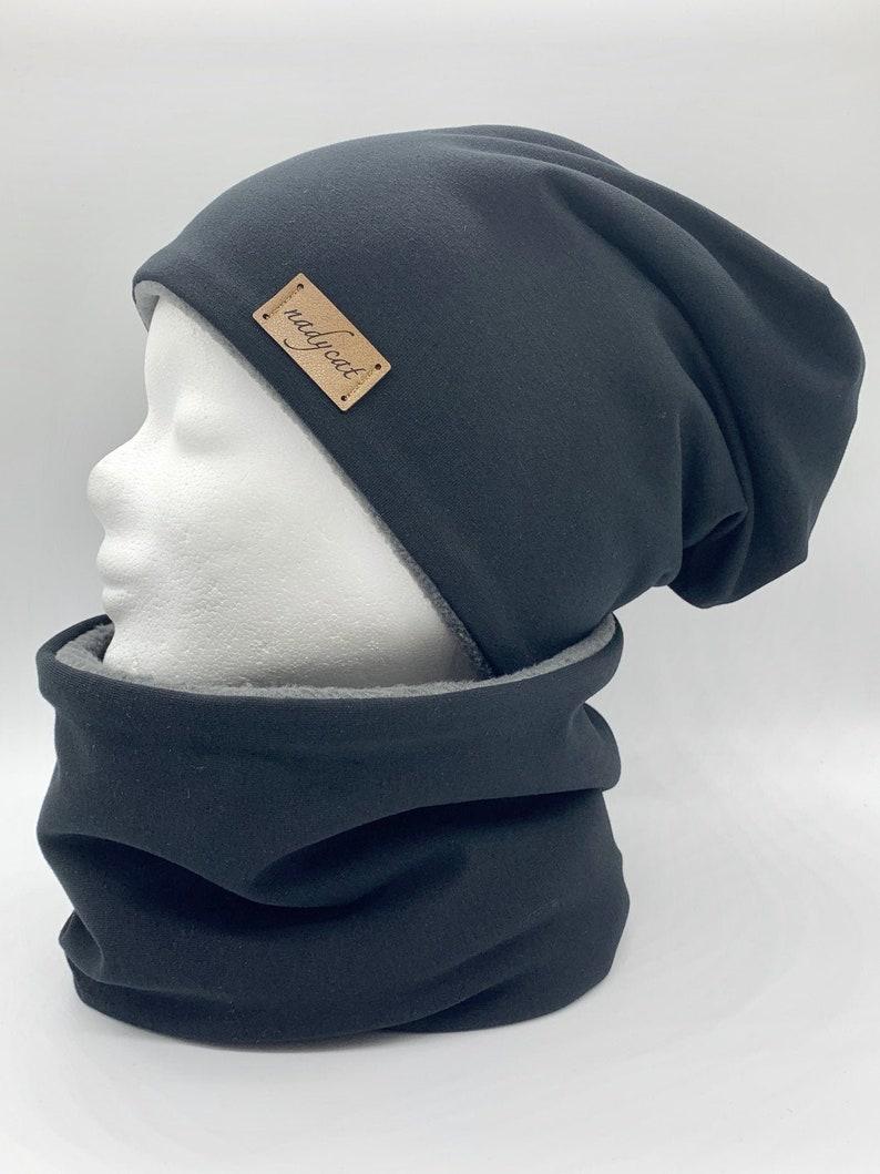 BLACK UNI Beanie with Matching Loop KU 58-60 Winter Set