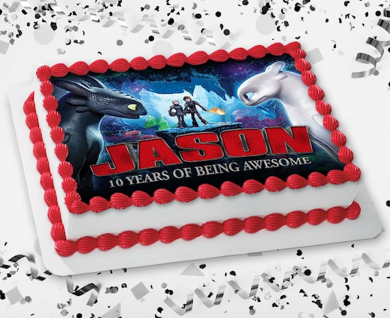 Wondrous How To Train Your Dragon 3 Custom Name Art Cake Topper Etsy Personalised Birthday Cards Veneteletsinfo