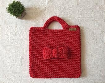 Hand crocheted red 100% cotton woven handbag