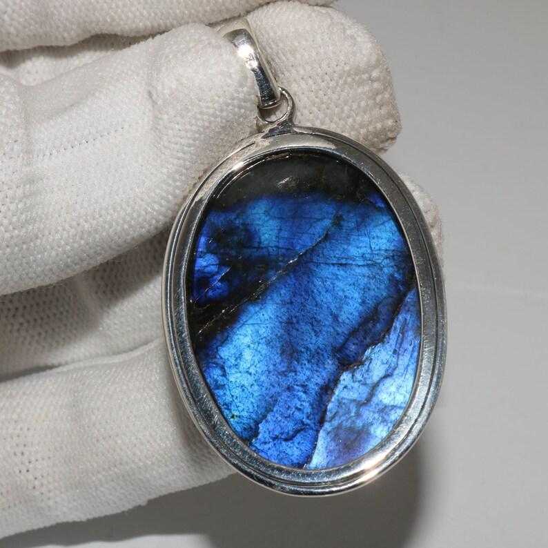 94.8 Crt 925 Sterling Silver Labradorite Gemstone Oval Shape Pendant Labradorite-Amazing Stone With A Beautiful Flashy Fire Pendant 47x30 MM