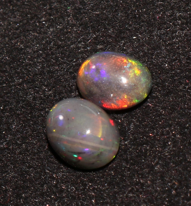 Dyed 9X7 MM Top Quality Natural Ethiopian Opal Welo Fire Gemstone Cabochon 2 Pic October Birthstone-Loose Gemstone 2.90 Carat ..A65