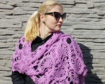 Crochet lacy scarf Extra long scarf Lilac pink scarf Long scarf Crochet scarf Crochet wrap Lacy scarf Lacy wrap  Women scarf Gift for her