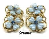 KRAMER Lucite Blue Flower 14 K Gold Filled Clip Earrings Light Blue Rhinestone Floral Lt Blue Thermoset Petals Rhinestones Vintage Jewelry
