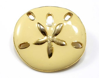 f9e576d91 Sand Dollar Brooch, Vintage Gold Tone with Cream Enamel Pin, Vintage from  the 1970s, Great Beach Lovers Brooch, Sand Dollar Jewelry