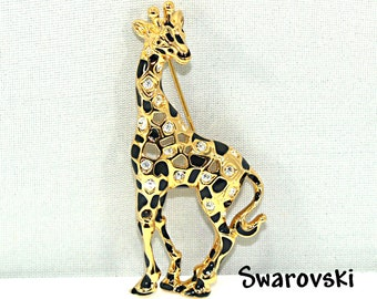 c0d39d029 Giraffe Brooch Pin Swan Logo Swarovski Gold Tone Black Enamel Spots Vintage  Retired Swarovski Vintage Jewelry