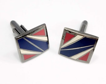 LUND Copenhagen Beautiful Danish 925 Silver Cuff Links with Mother of Pearl Stripes.