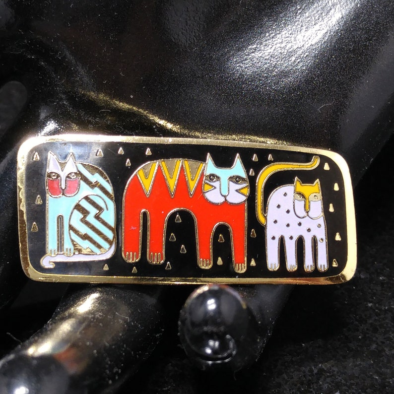 1980s Vintage Jewelry Gold Plated Cloisonne Laurel Burch Fantastic Felines Enamel Brooch