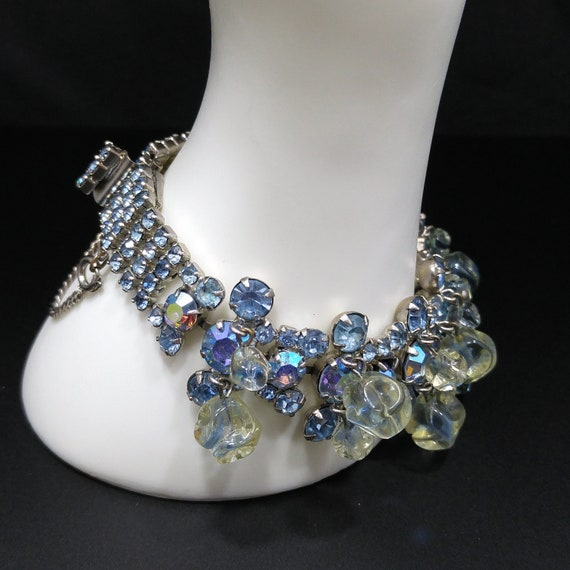 1950s Vintage Unsigned CLEAR Rhinestone Glass Rhodium Based Necklace /& Bracelet Stunning Beauty Ready for the Upcoming Holidays!