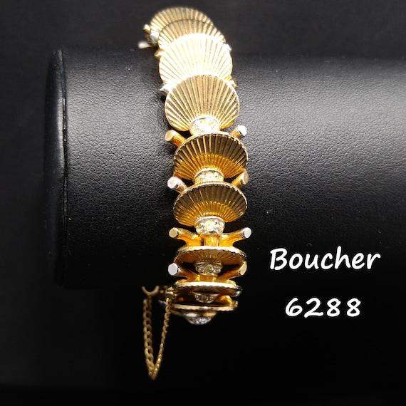 Boucher Deco Fan Bracelet, Clear Rhinestones, Over