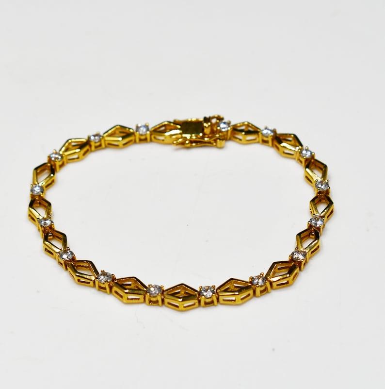 1970s Vintage Jewelry Gold Plated Clear Rhinestones Roman Vintage Tennis Bracelet