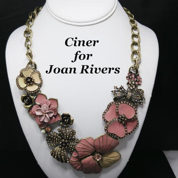 Ciner for Joan Rivers Pink Enamel Necklace, Classi