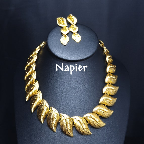 Vintage Napier Necklace Earrings Pin Rhoium And Gold Plated Napier Necklace Earrings Pin The TWO TONE COLLECTION 1980s Stunning And Rare