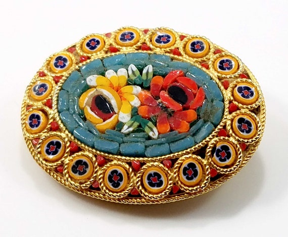 Italian Floral Micro Mosaic Oval Brooch, Artistic