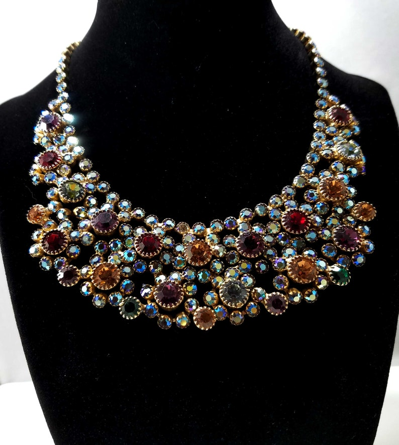 8efea0731cd1f Aurora Borealis Rhinestone Choker Necklace with Multi-colored Rhinestone  Chatons Dogtoothed Prong Set Red Green Amber Lavender Blue Flowers