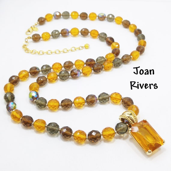 Joan Rivers Long Beaded Crystal Necklace & Removab