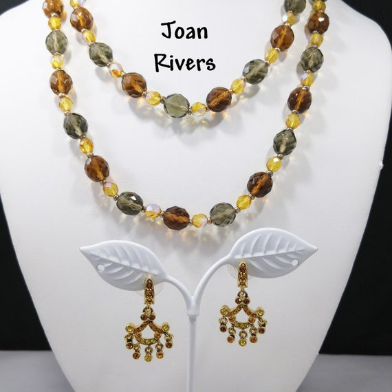 Joan Rivers Long Beaded Crystal Necklace & Rhinest