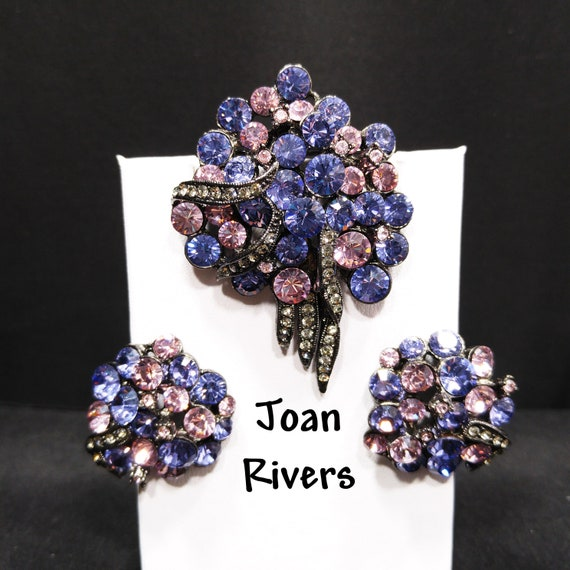 Joan Rivers Rhinestone Brooch & Earrings, Lavender