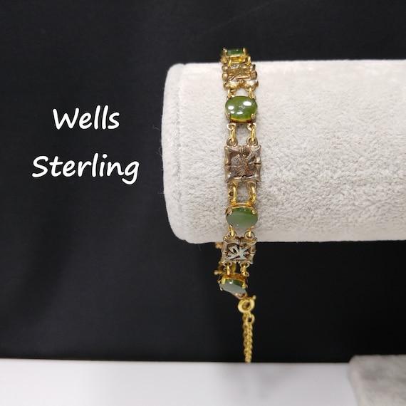 Wells Sterling Chrysoprase Gemstone Bracelet, Mid