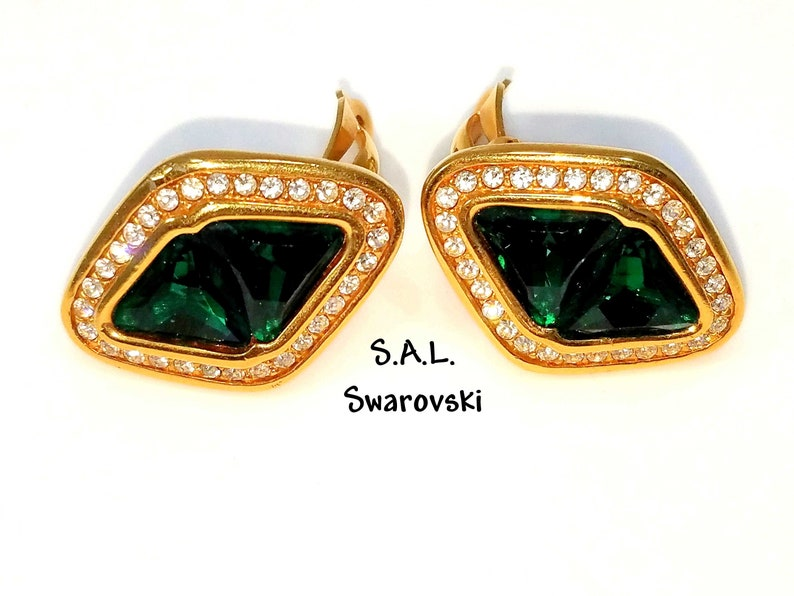 c0c46c8e2bc90 Swarovski Emerald Green Crystal Earrings Austrian Crystal Rhinestones Gold  Tone Pave Clear Rhinestone 1970s Vintage Swarovski Clip Earrings