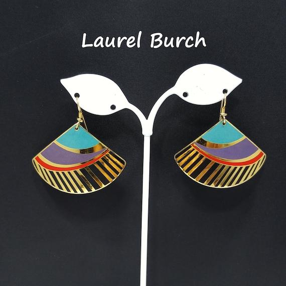 Laurel Burch Geometric Fan Earrings, Colorful Geom