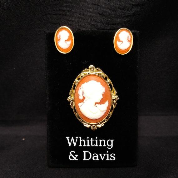 Whiting & Davis Cameo Brooch Post Earrings Set, Lu