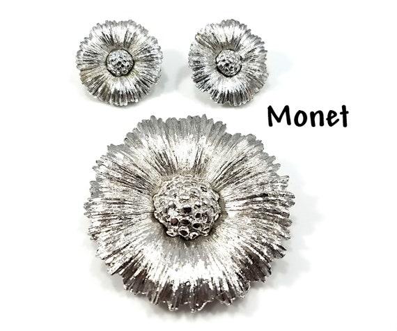 Monet Flower Brooch & Earrings Set, Silver Toned,