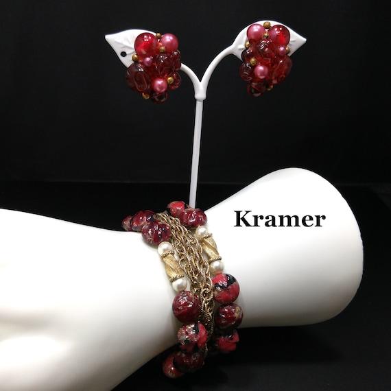 Kramer Red Thermoset Beaded Bracelet & Earrings, 2