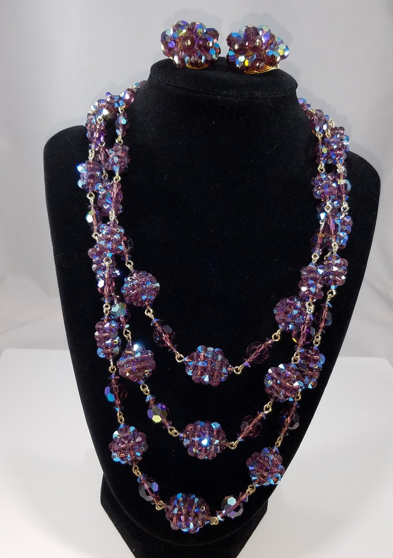 Vintage Made in France Demi-Parure Aurora Borealis Purple /& Blue Crystal Wire Wrapped Necklace and Earrings with AB Rhinestone Brass Clasp