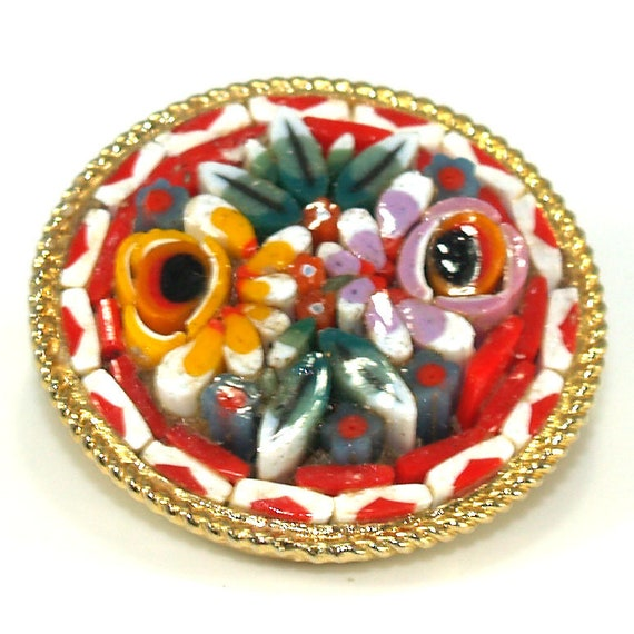 Italy Micro Mosaic Brooch, Raised Floral Design, S