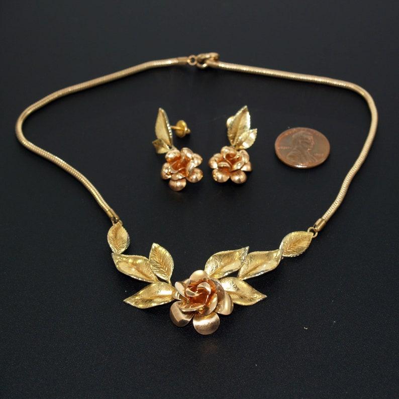 Krementz Necklace /& Earrings Rose Gold Plate Rose Design Unique Screw Post Backs 1940s Mid Century Vintage Jewelry KREMENTZ USA 14 KG Plate