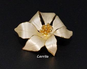 Vintage Cerrito White Poinsettia Brooch, White Flower Brooch, 1980s White & Gold Poinsettia Brooch, Signed Cerrito, Vintage Jewelry