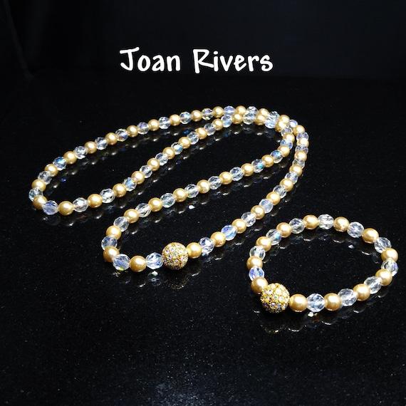 Joan Rivers Faux Pearl Crystal Necklace & Bracelet