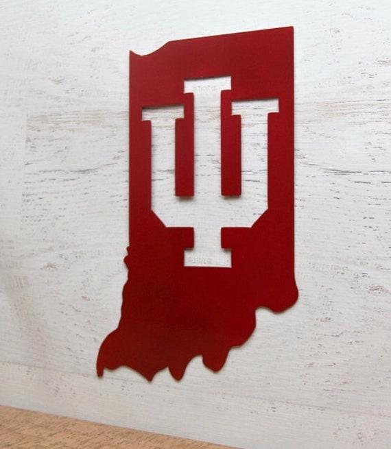 Indiana University Logo Inside State Shape Sign Etsy