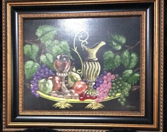 """ORIGINAL Still Life Oil Painting On Canvas Pitcher, Goblet and Fruit Still Life by Harry Kemler. Size: 20"""" x 16"""" inches unframed"""