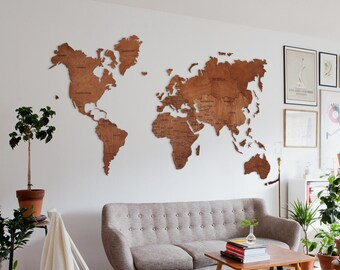 Christmas Gift World Map Wood World Map World Map Wall Art ...