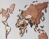 3D World Map Wood Map Wall Art Wood Wall Art Wooden Map Wood World Map Rustic World Map Travel Map World Map Wall Decor Halloween Decor